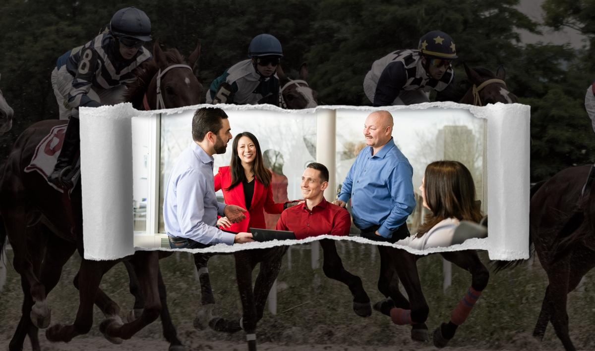 Background image showing a horse race. Foreground image showing a business meeting with 5 people talking.